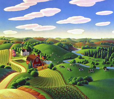 Country Scene Painting - Dairy Farm  by Robin Moline