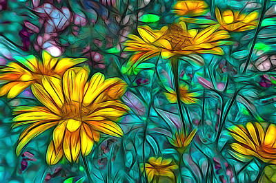 Abstrait Digital Art - Daisies by Jean-Marc Lacombe