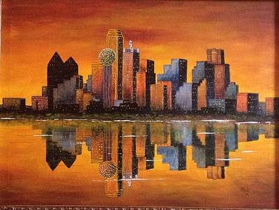 Dallas Skyline Painting - Dallas August Skyline by Monte Rawlings
