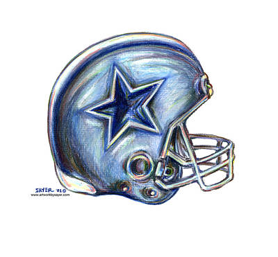 Dallas Drawing - Dallas Cowboys Helmet by James Sayer