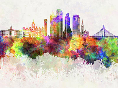 Dallas Skyline Painting - Dallas Skyline In Watercolor Background by Pablo Romero