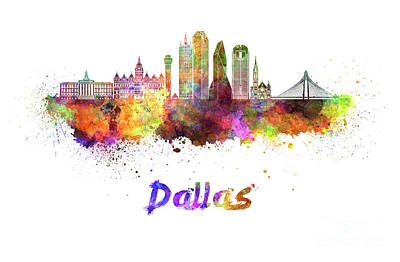 Dallas Skyline Painting - Dallas Skyline In Watercolor by Pablo Romero