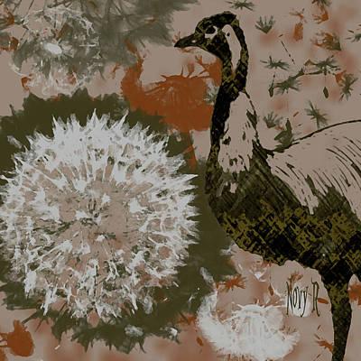 Emu Digital Art - Dandelion Emu by Novy Rich