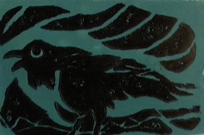 Lino Painting - Darcy's Crow by Erika Chamberlin
