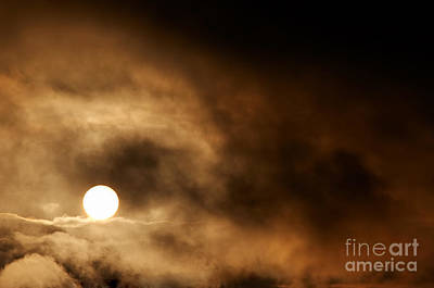 Dark Storm Clouds And Setting Sun Print by Michal Boubin