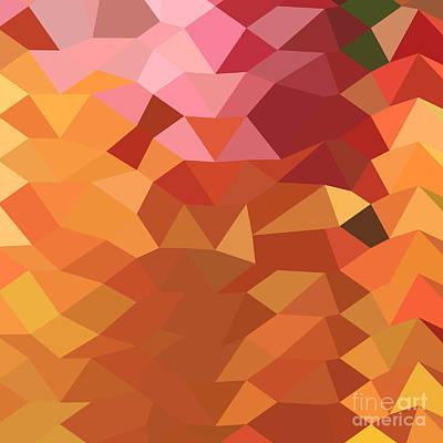Dark Tangerine Abstract Low Polygon Background Print by Aloysius Patrimonio