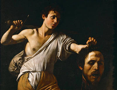 David With The Head Of Goliath Print by Caravaggio
