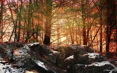 Maria_eames Mixed Media - Dawn In The Forest by Maria Eames