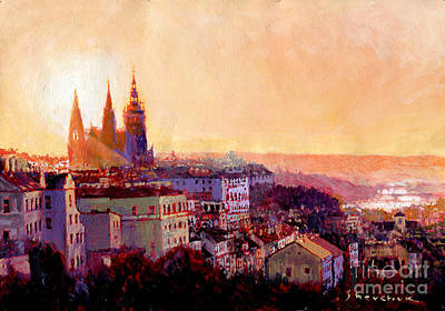 Prague Czech Republic Painting - Sundown Over Prague by Yuriy Shevchuk