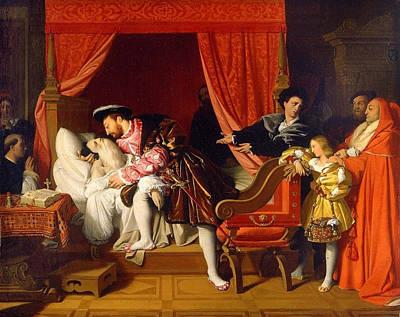 Bed Painting - Death Of Leonardo Da Vinci by Jean-Auguste-Dominique Ingres
