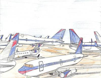 Airlines Drawing - Delta Airplane Graveyard by Andrew Brooks