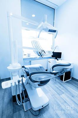 Health Photograph - Dentist's Office. Dental Equipment, Modern, Clean Interior. Blue Tone by Michal Bednarek