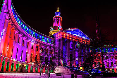 Denver City And County Building Holiday Lights Print by Teri Virbickis