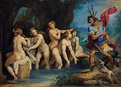 Giuseppe Cesari Painting - Diana And Actaeon by Giuseppe Cesari