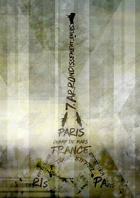Digital-art Paris Eiffel Tower Geometric Mix No.1 Print by Melanie Viola