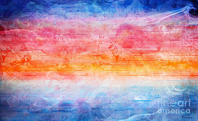 Layered Digital Painting - 1b Abstract Expressionism Digital Sunrise Painting by Ricardos Creations