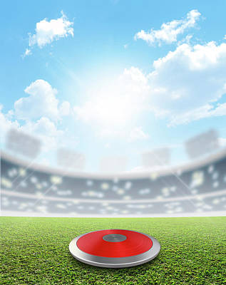 Warm Digital Art - Discus Stadium And Green Turf by Allan Swart