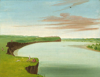 George Catlin Painting - Distant View Of The Mandan Village by George Catlin