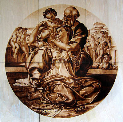Custom Reproductions Pyrography - Doni Tondo by Dino Muradian