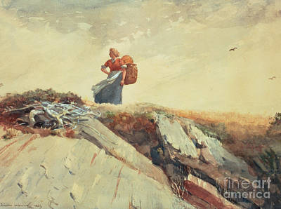 Admiring The View Painting - Down The Cliff by Winslow Homer