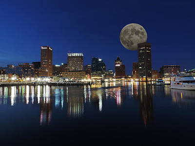 City Photograph - Downtown Baltimore Maryland Dusk Skyline Moon by Cityscape Photography