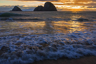 Dramatic Sunset Oregon Coast Usa Print by Vishwanath Bhat