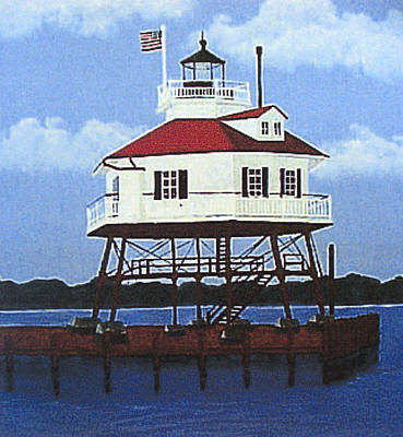 Historic Lighthouse Images Painting - Drum Point Lighthouse by Frederic Kohli