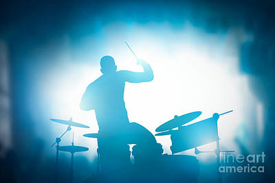 Perform Photograph - Drummer Playing On Drums On Music Concert. Club Lights by Michal Bednarek