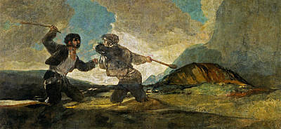 Black Painting - Duel With Cudgels by Francisco Goya