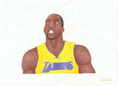 La Lakers Drawing - Dwight Howard by Toni Jaso