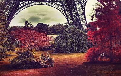 Paris Surreal Parks Photograph - Eiffel Tower Surreal Photo Red Trees Paris France by Sandra Rugina