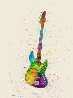 Electric Bass Guitar Abstract Watercolor Print by Michael Tompsett