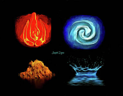 Four Painting - Elements by Leonardo Digenio