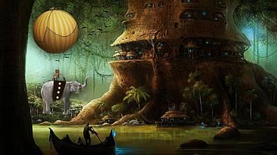 Wild Mixed Media - Elephant Flight by Marvin Blaine