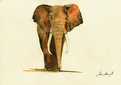 Elephants Painting - Elephant Watercolor by Juan  Bosco