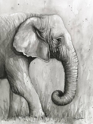 Elephants Painting - Elephant Watercolor by Olga Shvartsur