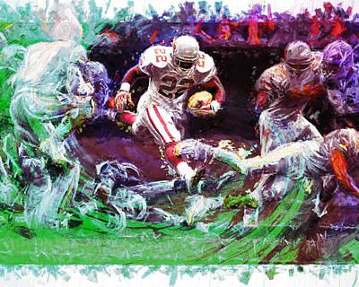 Emmitt Smith Dallas Cowboys Digital Painting  Print by David Haskett