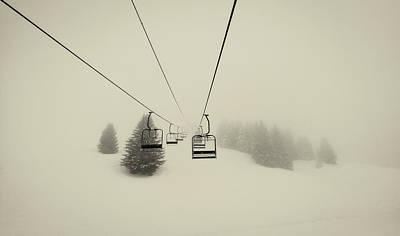 Empty Winter Ski Lift Print by Mountain Dreams