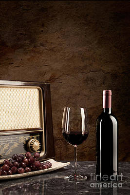 Enjoying Wine And Listening To The Radio Print by Wolfgang Steiner