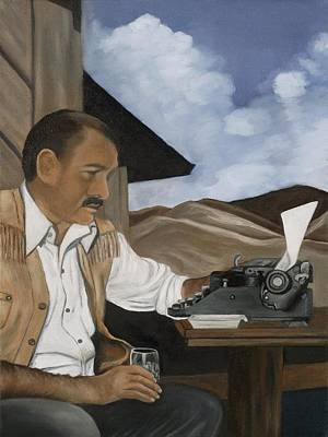 Sky Writer Painting - Ernest Hemingway by Caroline  Stuhr