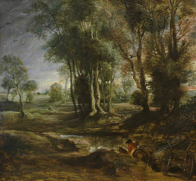 Wagon Painting - Evening Landscape With Timber Wagon by Peter Paul Rubens
