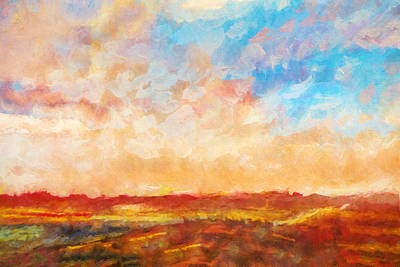 Impressionistic Landscape Painting - Evening Sky by Lutz Baar
