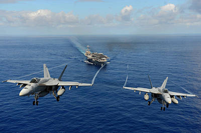 F A-18 Hornets Us Navy Print by Celestial Images