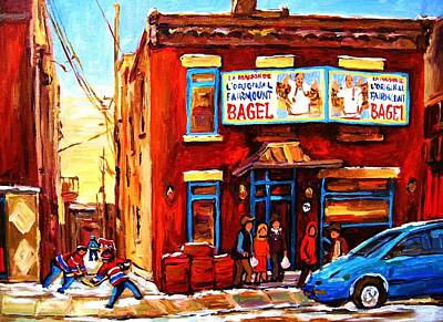 Kids Playing Hockey Painting - Fairmount Bagel In Winter by Carole Spandau