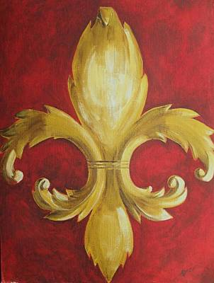 Mardi Gras Painting - Fancy Fluer De Lis by Dana Redfern