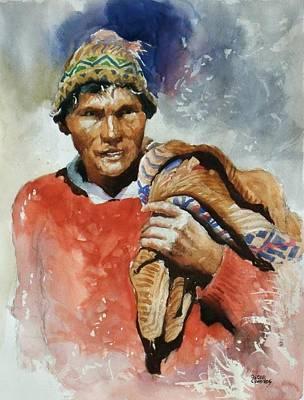 Peruvian Painting - Farmer by Oscar Cuadros