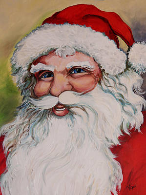 Father Christmas Print by Vickie Warner