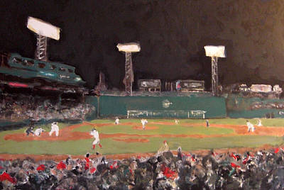 Baseball Parks Painting - Fenway Night by Romina Diaz-Brarda