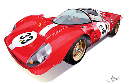 Automotive.digital Digital Art - Ferrari 330 P4 by Alain Jamar