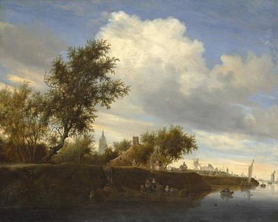 Construction Painting - Ferry Near Gorinchem by Salomon van Ruysdael